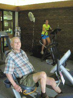 Senior citizen at gym